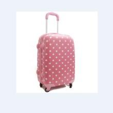 Panel rosa con juegos de equipaje de lunares blancos para niñas