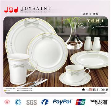 Plato de cena de cerámica plana redonda al por mayor de la porcelana plana al por mayor