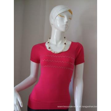 T-shirt de senhoras sem costura mangas curtas com pedras de brilho
