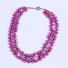Heiße purpurrote Farbe 6-7mm Süßwasserperlen-Halskette