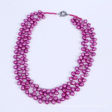 Collar de perlas de agua dulce 6-7mm color púrpura caliente
