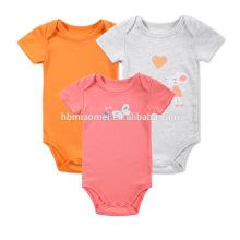 Großhandelskinder- und Kleinkind onesie orange rote graue Farbe druckte preiswerten organischen Baby normalen Spielanzug