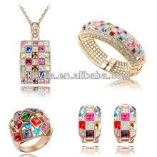Роскошные королева ювелирные изделия набор красочных кристаллов аксессуары Дубаи золото дамы свадебные ювелирные изделия набор
