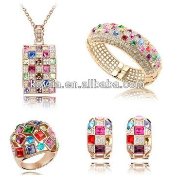 Luxo rainha jóias conjunto de acessórios de cristal colorido dubai ouro Senhoras casamento jóias conjunto