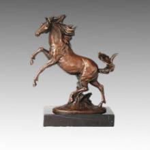 Animal Escultura De Bronce Caballo De Salto De Decoración Estatua De Latón Tpal-256