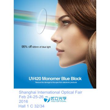 75mm UV420 1.60mr-8 Monómero Bloco Azul Hmc com Super-Hidrófoba