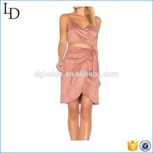 Wholesale for skirt with crop top suede top and skirt set