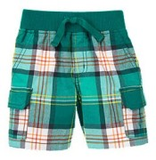 Kid's Pants Trousers Plaid Summer Shorts Jungle Green
