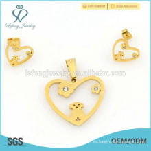 La joyería única de la forma del corazón del oro amarillo del estilo de la manera fija al por mayor