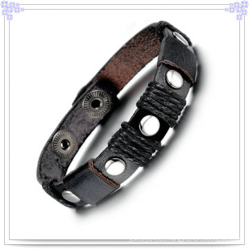 Joyas de acero inoxidable joyas de cuero pulsera de cuero (LB121)