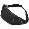 Lightweight Black Zippered Simple Waist Fanny Bag