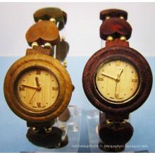 Hlw077 OEM montre en bois de montre en bambou de montre en bois des hommes et des femmes de haute qualité