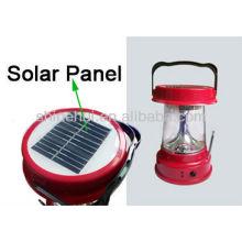 Plástico ABS / transparente PC ultra brilhante levou lanterna acampamento energia solar lanterna