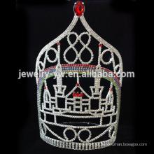 Corona alta grande vendedora caliente de la novia de la manera de la tiara de la boda del rhinestone