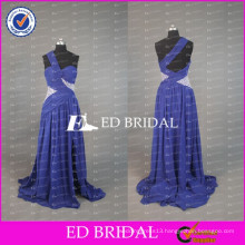 ED Bridal Sexy New Arrival One Shoulder A Line Unique Open Back Blue Chiffon Long Prom Dresses 2017