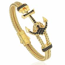 Factory Price for Braided Steel Rope Bracelet Gold Color Steel Wire Cord Anchor Zircon Bracelet supply to Japan Factories