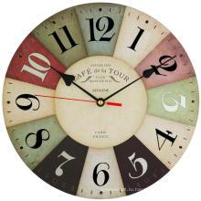 Бесшумная батарея без часов 12 дюймов Винтаж Красочные деревянные настенные часы
