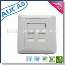 2 port wall mount fiber optic face plate / SC LC double ports wall plate / 45 degree network faceplate