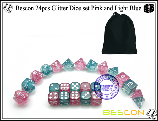 Bescon 24pcs Glitter Dice set Pink and Light Blue-4