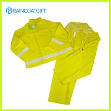 Combinaison imperméable réfléchissante de vêtements de travail de polyester de PVC Rpp-015