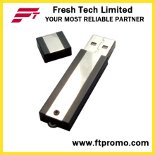 Bloque de metal USB Flash Drive con grano de color lateral (D302)