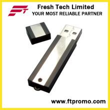 Bloque de metal USB Flash Drive con grano de color lateral (D302)