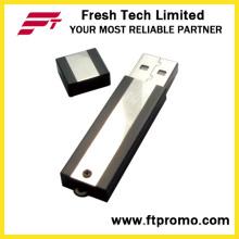 Metal bloco USB Flash Drive com grão de cor lateral (D302)