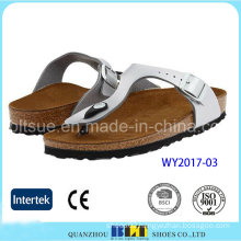 White Footwear Cork Materials USA Style Slippers