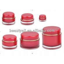 5ml 15ml 20ml 30ml 50ml 100ml 200ml Round Red Cosmetic Acrylic Container