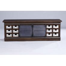 Industrial Vintage 12 Sliver Plated Schubladen und 2 Metall Schiebetüren TV Stand Cabinet