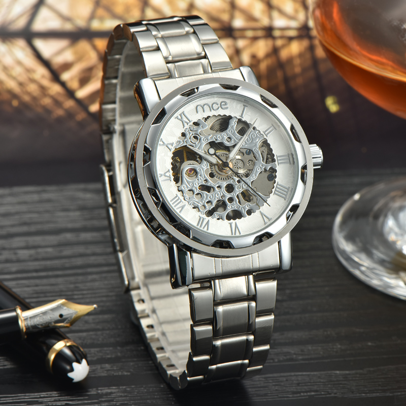 chinese automatic movement skeleton mechanical mens watch