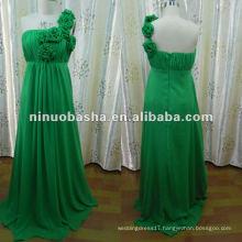 LL-0064 Spring Green One Shoulder Sheath Sweep Train Handmade Flower Bridesmade Dress Wedding Gown