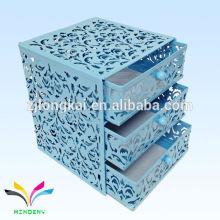 Caixa de armazenamento de arquivo de 3 camadas em relevo de metal em relevo para produtos de escritório