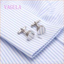 VAGULA 2015 Fashion Silver Plated Smooth Gemelos Copper Cufflinks
