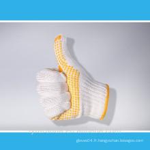 Gants de travail en coton blanc blanchi de calibre 7 avec des points en PVC sur la paume