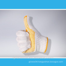 7 gauge bleached white cotton knitted working gloves with PVC dots on palm