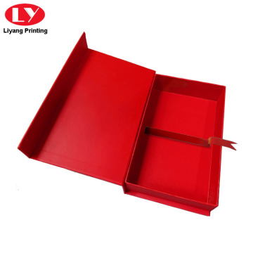 Red Texture Fancy Cardboard Magnetic Jewelry Box Packaging