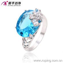 Aleación de circón de moda chapado anillo de dedo de la joyería de cristal de plata para las mujeres -13363