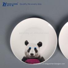 Panda Painting Hot Sale assiettes en céramique, plaque imprimée personnalisée en céramique pour la vente en gros