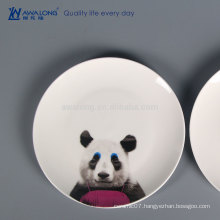 Panda Painting Hot Sale Ceramic Dinner Plates, Custom Printed Ceramic Plate For Wholesale