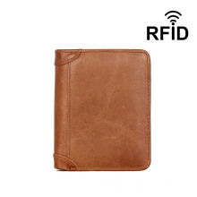 Custom Vintage Smart Trifold 8 Card Holder 2 ID Windows Purse Genuine RFID Blocking Genuine Leather Wallet for Men