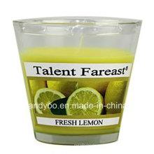 Vela fresca de soja de limón perfumada en vidrio