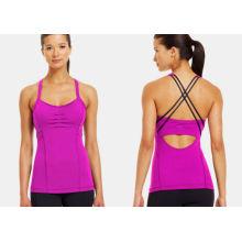 Peek-a-boo Soft Cross Back Sports Compression Clothing , Women's Studio Ballet-inspired  Tank Tops