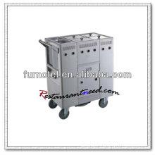 S103 Chariot de cuisine 4 cuves en acier inoxydable à gaz