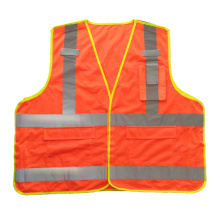 Fluorescent orange 5 point breakaway mesh reflective safety vest with pockets