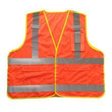 Fluorescente laranja 5 ponto de ruptura de malha colete de segurança reflexivo com bolsos