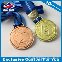 Round Shape Shiny Gold Brass Metal Football Medal with Ribbon