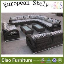 Sofa sectionnel de salon européen de meubles de rotin à la maison (CF1242)