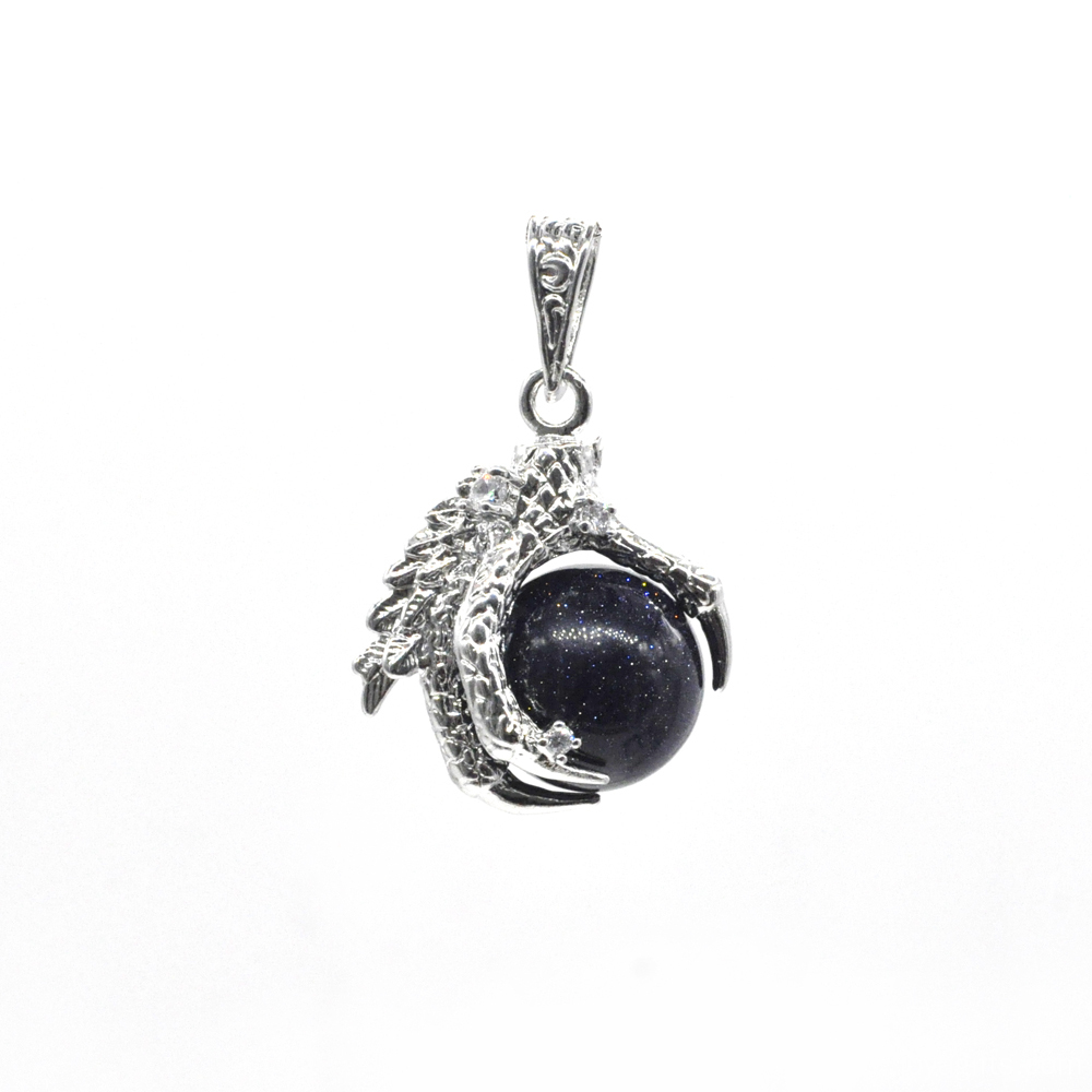 China Supplier Fashion Jewelry Blue Goldstone Sphere Dragon Claw Pendant
