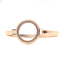 "Fashion stainless steel crystal rose gold 30mm 7""-8"" floating screw glass charm womens locket bangle bracelet"